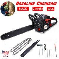 Black 20'' Bar 62CC More Power Gasoline Chainsaw Petrol Powered Wood Cutting Chain Saw 2 Stroke Less Noise Durable