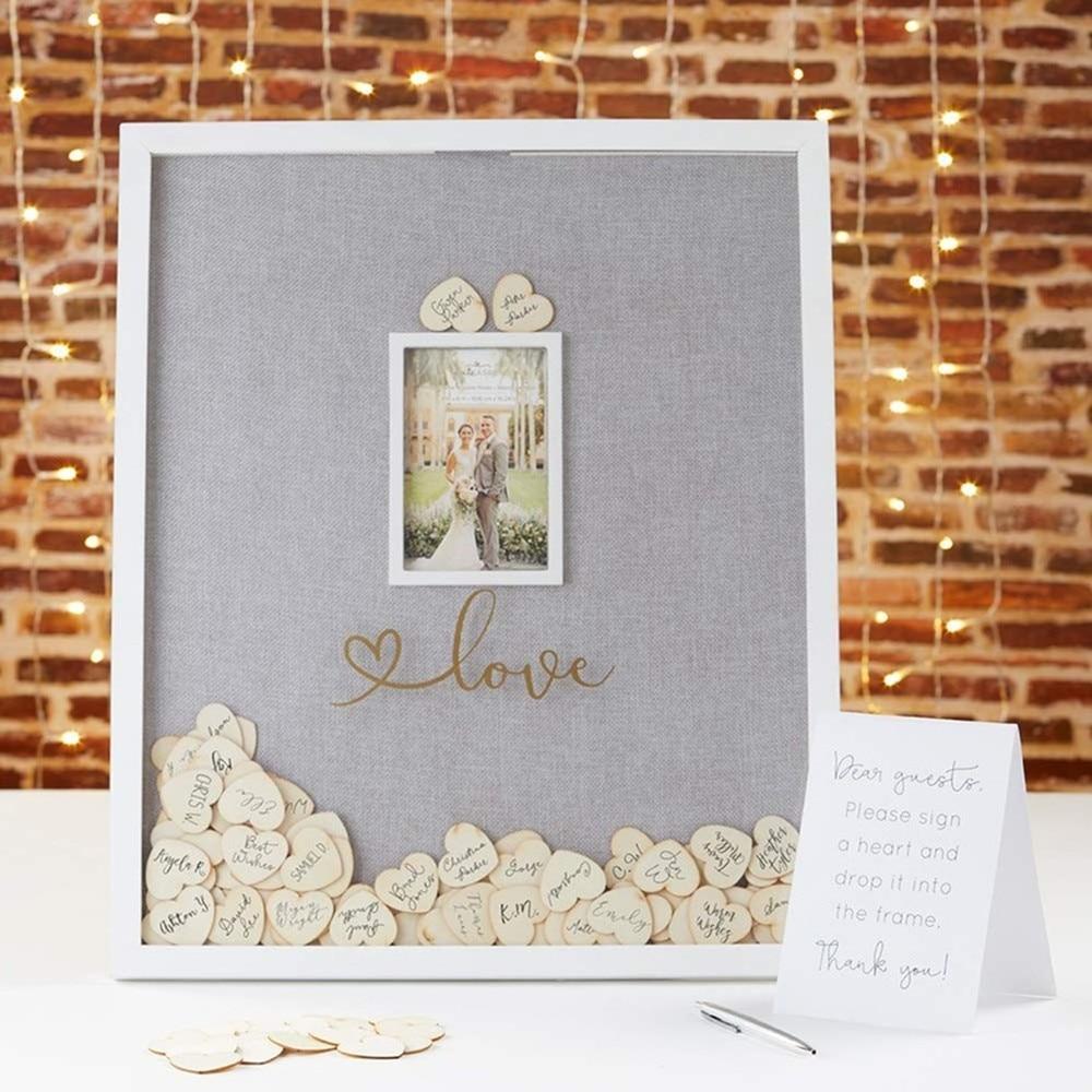Personalized Drop Box Guest Book Wedding Guest Book Sign Alternative 3d Wedding Guestbook Wood Hearts Photo Drop Top Box Signature Guest Books Aliexpress