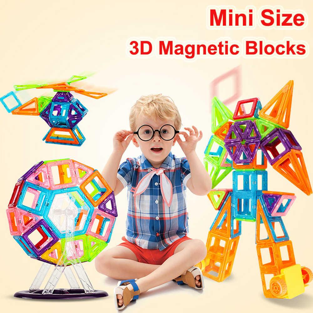 110 sztuk mały rozmiar bloki magnetyczne konstruktor zabawki układanki magnetyczne bloki cegieł 3D modelu budynku zabawki dla dzieci prezenty