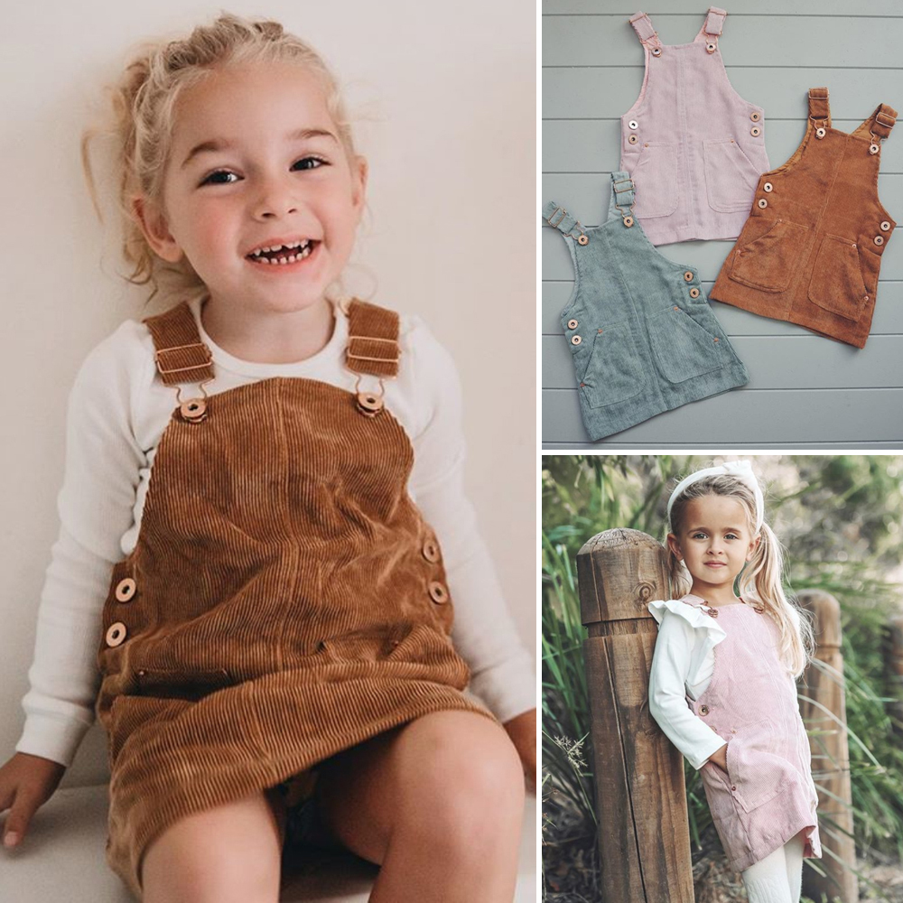 Yingyingni Baby Girls Corduroy Button Fly Sleeve Strap Dress Toddler Ruffled Casual Suspender Skirt Clothes Outfit