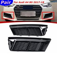 2Pcs/Pair Silver Standard Front Bumper Lower Fog Light Grille Cover For Audi A4 B9 2017 2018