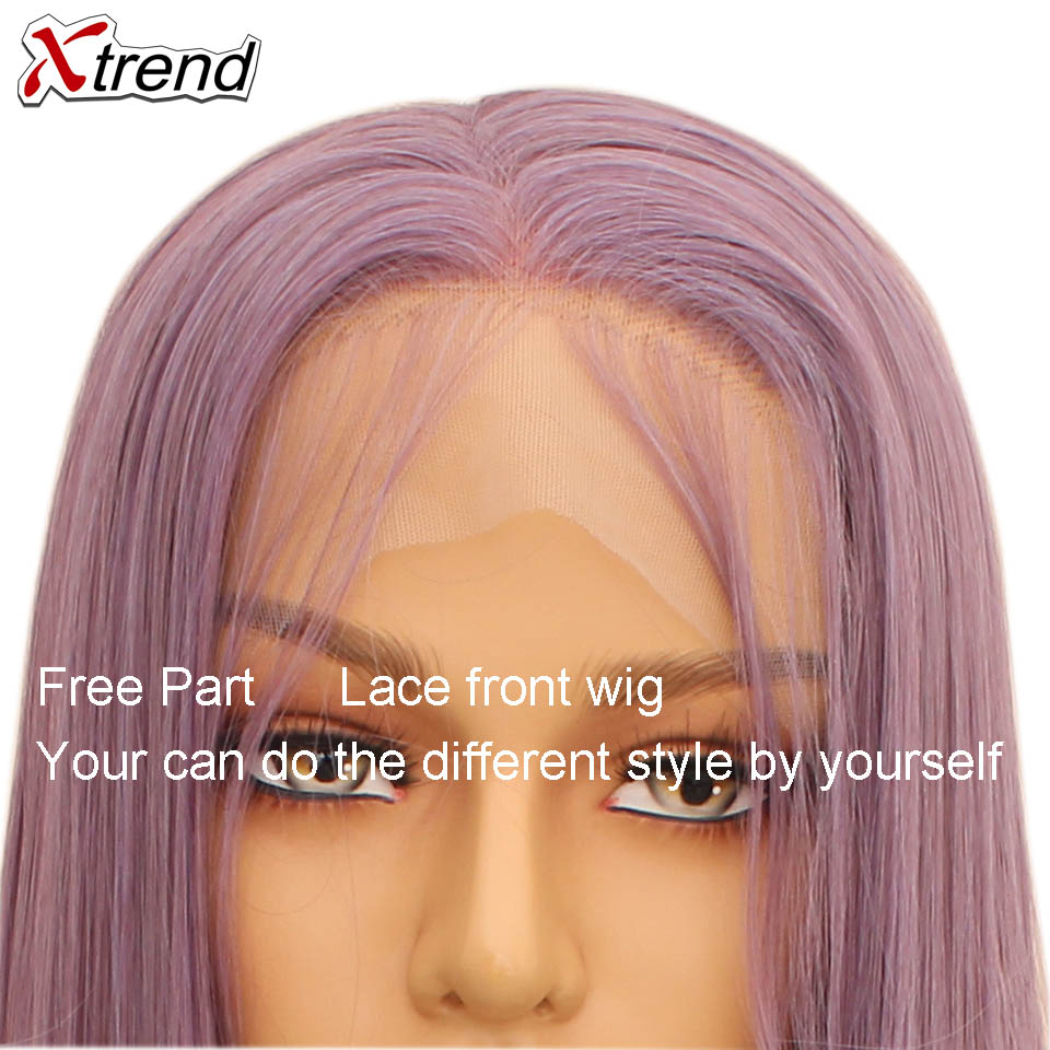 Image 4 - Xtrend Straight Synthetic Lace Front Wig White Pink Purple Green Blonde 613 Grey 60 Copper Wigs For Black Women Heat Resistant-in Synthetic Lace Wigs from Hair Extensions & Wigs