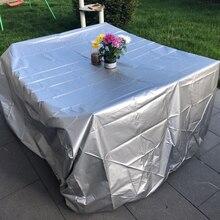 11 rozmiary srebrne wodoodporne Patio na świeżym powietrzu pokrowce na meble ogrodowe deszcz śnieg krzesło pokrowce na sofę stół i krzesła odporny na kurz