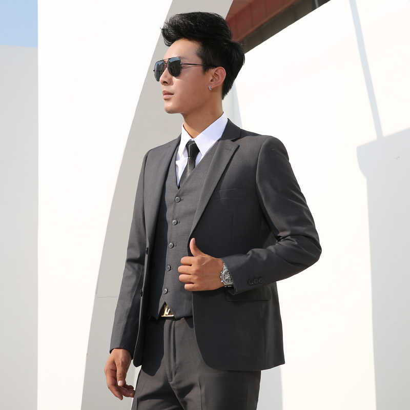 ShenrunชายชุดSlimธุรกิจอย่างเป็นทางการคลาสสิกชุดเจ้าบ่าวแต่งงานParty Promเดี่ยวสีสีดำสีเทาน้ำเงิน