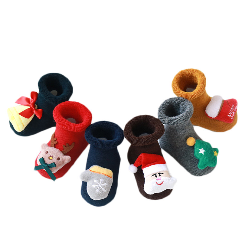 Newborn Baby Socks Anti Slip Socks For Baby Winter Warm Thick Baby Girls Boys Socks Christmas Cartoon Infant Clothes Accessories