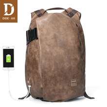 DIDE Male Backpack External USB Charge Waterproof Laptop Backpack PU Leather Travel Casual School Bag For Teenagers Men brand backpack men external usb charge antitheft school bag leather travel bag casual business male students school bag thw358