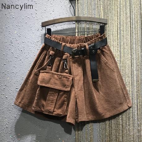 2019 New Winter Elastic-Waist Loose Large Pockets Corduroy Shorts Wide-Leg Shorts Boots Trousers Women's European Fashion Shorts