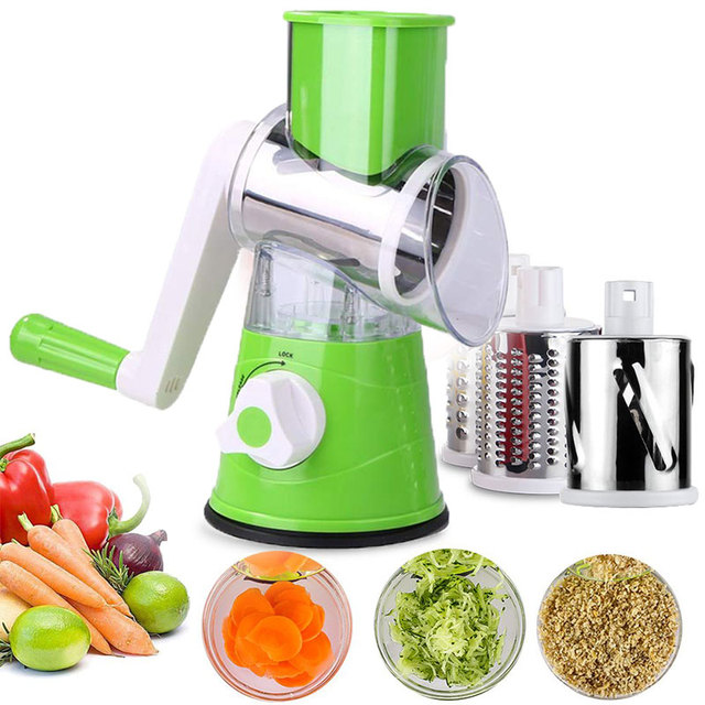 3 in 1 Multifunction Vegetable Cutter Kitchen Round Mandolin Manual Potato Cheese Slicer Screwdriver Cooking Utensil Accessories