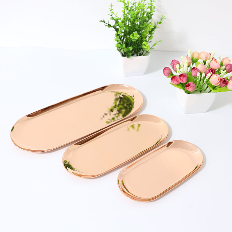S M L 3pcs/set Home Food Plates Sets Dinner Dishes Set for Kitchen Dinnerware Bakeware Brass Dishes and Plates Sets Dessert Tray