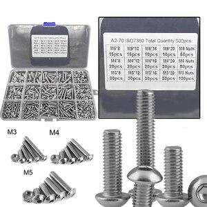 800Pcs Screws Nuts Set M3 M4 M5 Stainless Steel Flat Head / Button Head Hex Socket Head Cap Bolts Screws Nuts Assortment Kit