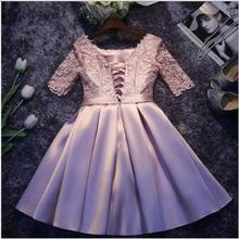 Sexy Lace Patchwork Women Dress O Collar High Waist HALF Sleeve Hollow Out Bandages short Dresses Female 2019 New