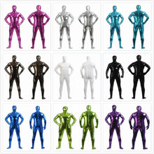 Masculino brilhante metálico zentai completo bodysuit voltar zíper costume feito collants ternos masculino completo bodysuit cosplay trajes de halloween