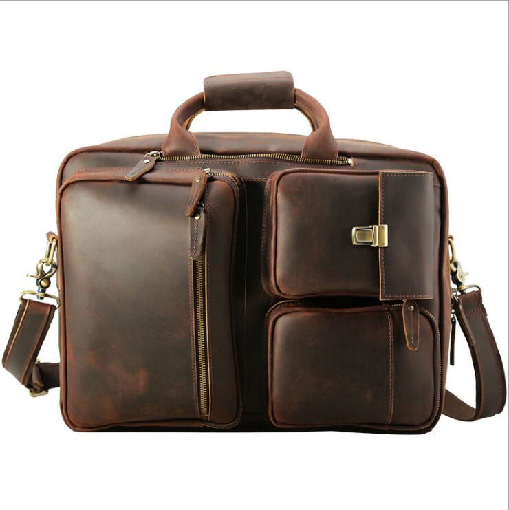 MAHEU Vintage Fashion Leather Briefcase 17 Inch Laptop Business Bag Hand Bag Bagpack Dual Use Genuine Leather Briefcase Bag