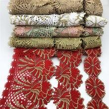 5 ярдов на каждую цветочную кружевную отделку, ленточная ткань, Цветочная вышивка, свадебный набор для шитья