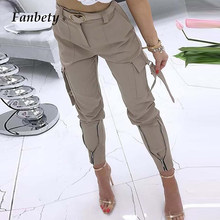 Women Sexy High Waist Cargo Pant Zipper Design Skinny Trouser 2021 New Fashion Elegant Plaid Print Long Pants Female Casual Pant