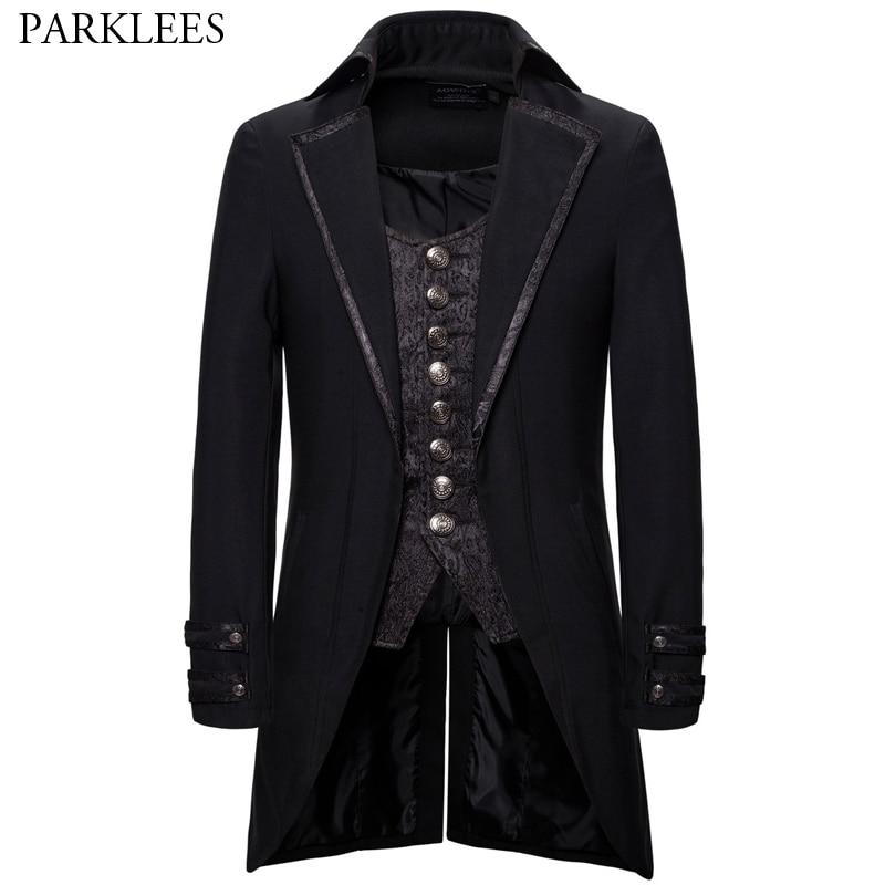 Retro Tailcoat Men Suit Jacket Lapel Fake Two Pieces Gothic Steampunk Coat Men Tuxedo Victorian Cosplay Mens Swallow Uniform 2XL
