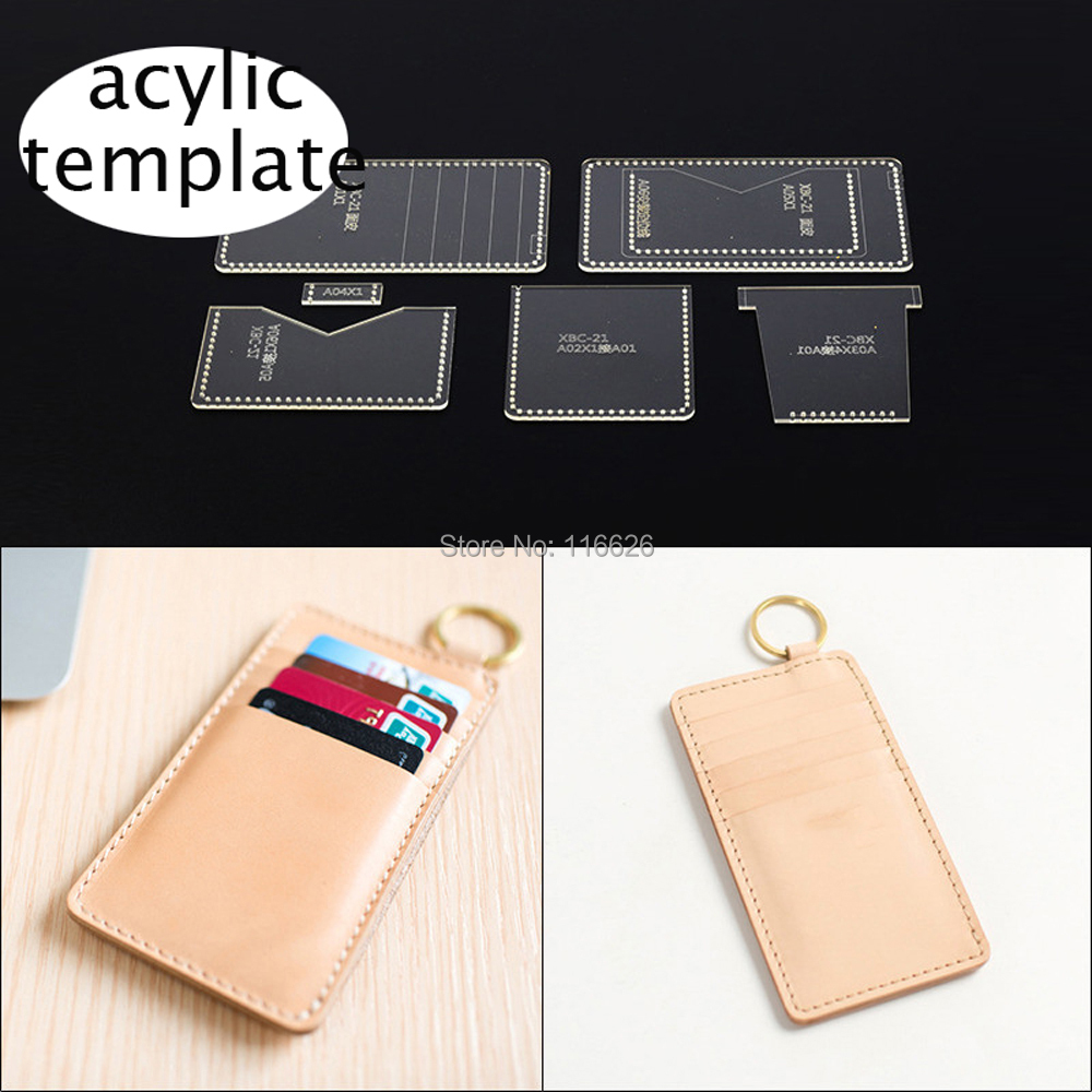 DIY leather craft key ring hanging card holder acylic template pattern  stencil 4x4cm