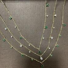 Girocollo Silvology in argento Sterling 925 con zircone verde bianco per donna elegante stile Mori collana con goccia d'acqua di lusso gioielli da ufficio