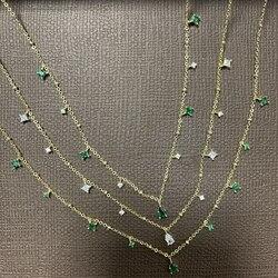 Silvology 925 Sterling Silver White Green Zircon Choker for Women Elegant Mori Style Luxury Water Drop Necklace Office Jewelry