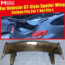 For HyundaI Veloster Turbo GT-style Spoiler Wing Carbon Fiber Gloss Black Ver2 Gt-Wing Style Trunk Roof Fits T Not L