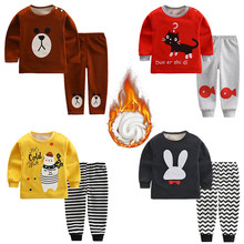 Baby Boy Girl Clothing Sets Spring Autumn Cartoon Long Sleeve T-shirts + Pants Plus Velvet Thick Baby Kids Clothing Suits F0024