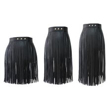 Womens High Waist Faux Leather Tassels Skirt Body Harness Punk Party Clubwear
