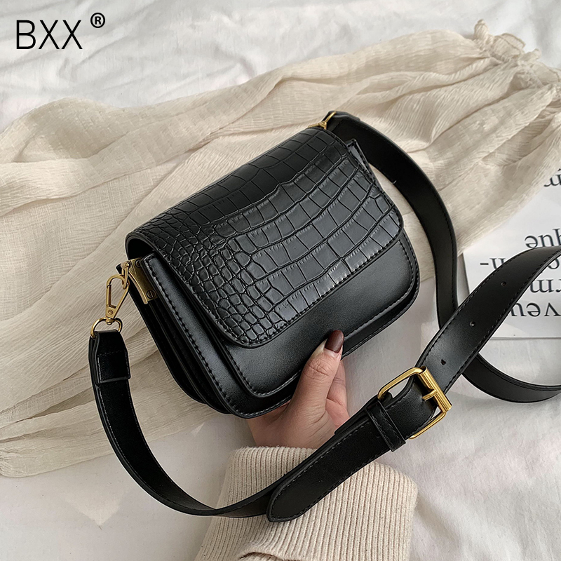 [BXX] Crocodile Pattern PU Leather Crossbody Bag For Women 2020 Spring Fashion Shoulder Messenger Bag Lady Travel Handbags HK434