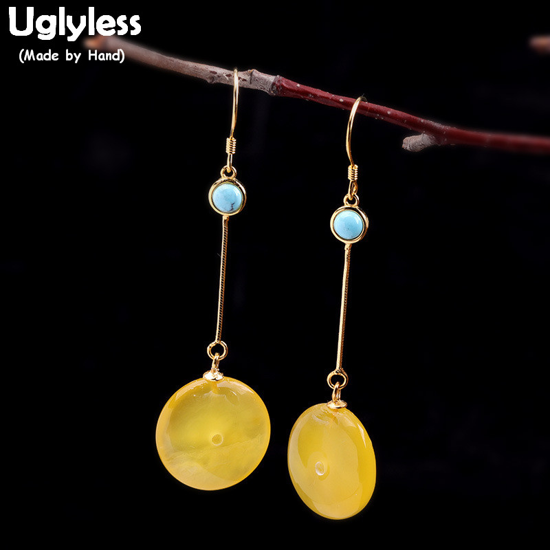 Uglyless Simple mode pierres précieuses paix bouton balancent boucles d'oreilles pour les femmes cire d'abeille naturelle ambre boucles d'oreilles 925 argent bijoux E1646