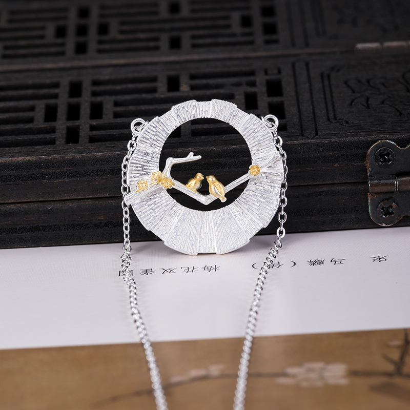 VLA 925 Silver Chinese Style Fashion Design Bird Branch Necklace Women's Personalized Hollow Round Pendant 2