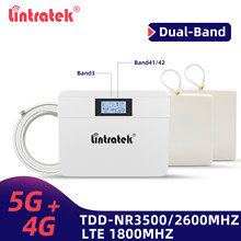 Lintratek 5G+4G Signal Repeater LTE 1800 TDD 3500 2500 NR41 NR78 Mobile Phone Signal Booster Network 5G Cellular Amplifier Set