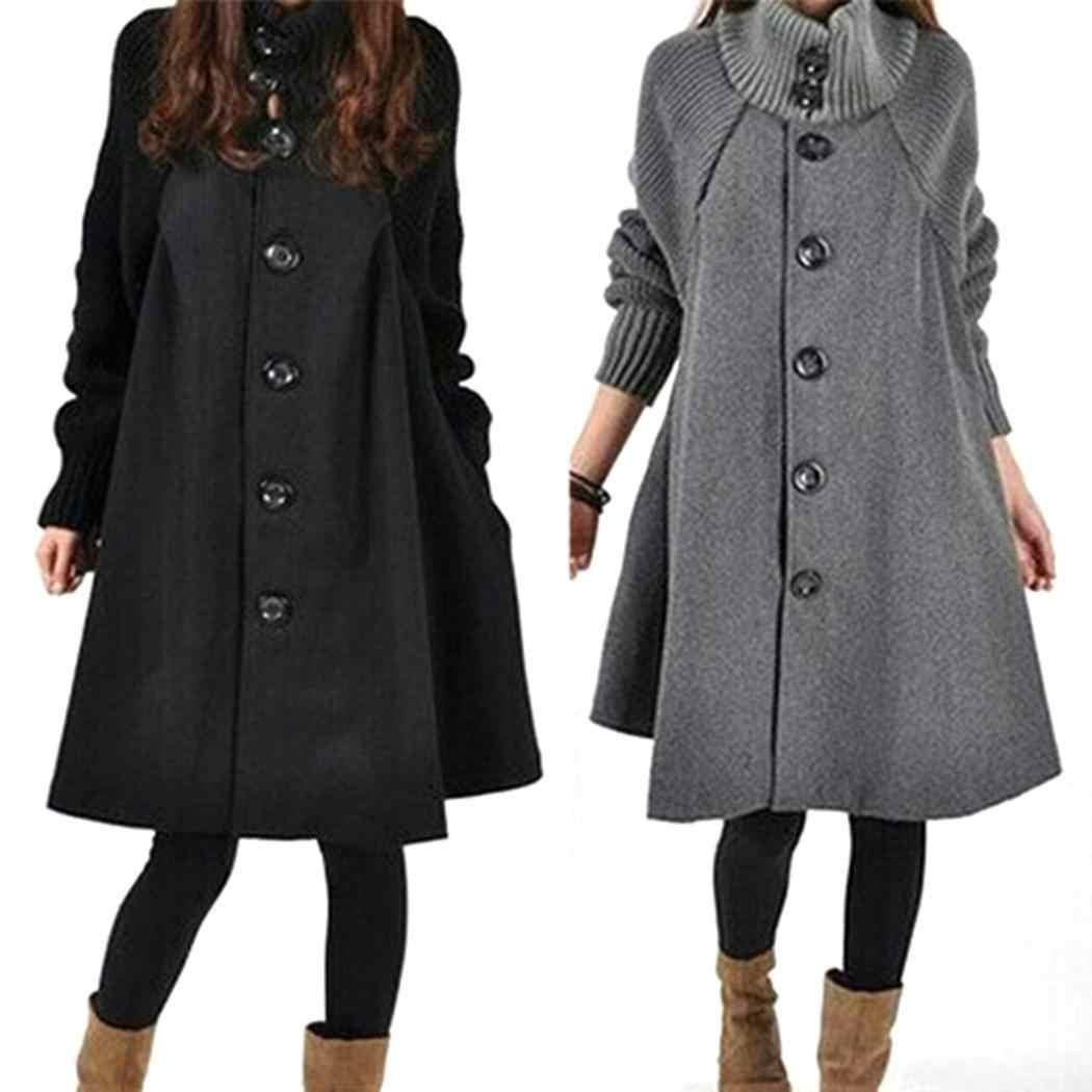 Feminino casual gola lanterna manga botão retalhos vestido longo casaco de inverno casual, rua, ao ar livre, etc