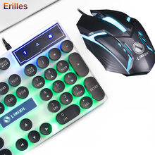 Gaming Wired Keyboard with Mouse Retro Round Glowing Keycap Backlit USB Mechanical Gamer PC Computer Accessories