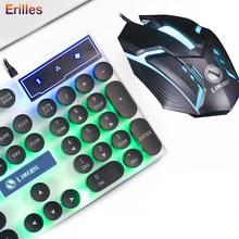 Gaming проводная клавиатура с ретро круглый мыши светящиеся клавиши подсветки USB механические геймера компьютер PC аксессуары