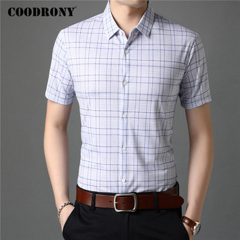 COODRONY Men Shirt Spring Summer Short Sleeve Business Casual Shirts Mens Clothing Fashion Classic Plaid Camisa Masculina C6012S coodrony men shirt spring summer short sleeve casual shirts cotton fashion plaid camisa masculina with pocket mens dress c6008s