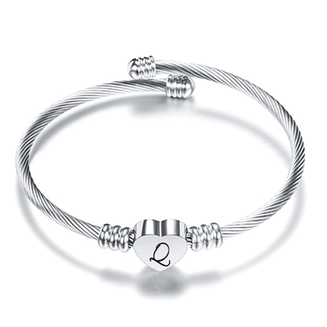 Free Engrave Initial Alphabet Heart Cuff Bangles Women Jewelry Stainless Steel Letter Bangle For Gifts 4