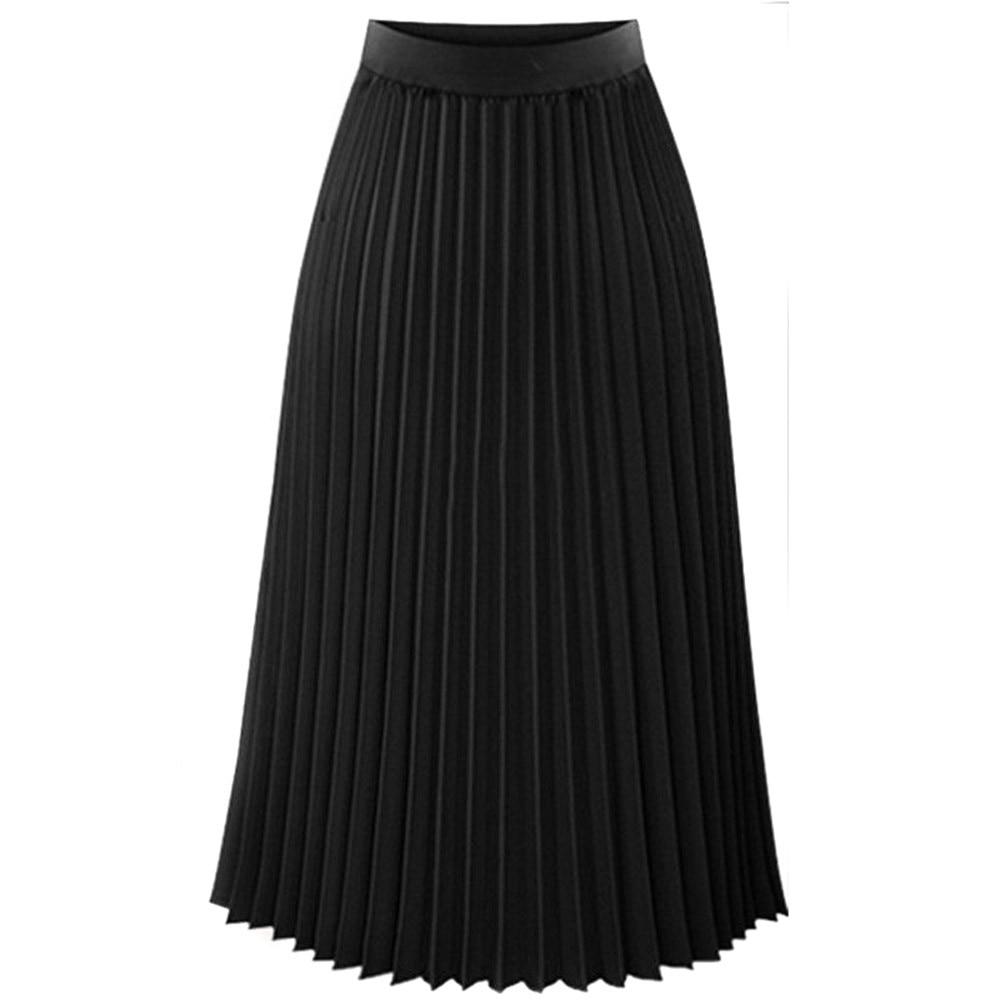 Женская модная юбка, однотонная, плиссированная, элегантная, ампир, миди, повседневная юбка, осень, эластичная талия, макси юбка, юбка женска - Цвет: Black