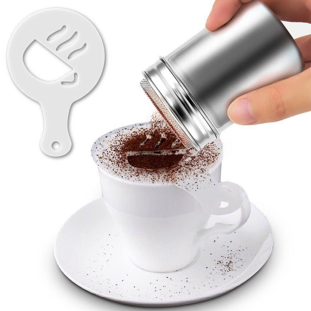 16PCS/set Cafe Foam Spray Template Barista Stencils Decoration Tool Garland Mold Coffee Printing Flower Model 2020