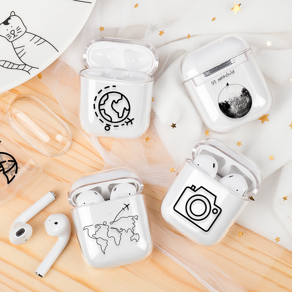 Transparent Case Cover For AirPods 1 2 Lovely Cartoon Map Air Ticket Hard PC Wireless Earphone Charging Box Cover For AirPods 2