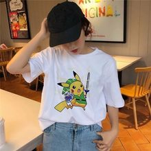 2020 Women T Shirt Harajuku Funny Pokemon Snorlax Togepi Squirtle Japanese T-Shirt Anime Female Tops Aesthetic Pikachu Clothes(China)