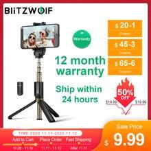 BlitzWolf BS3 3 w 1 Uniwersalny bezprzewodowy kij do selfie Bluetooth Mini statyw Wysuwany składany monopod podróż do iPhonea 11 Pro X XR 8 do Samsung Tik tok Xiaomi 10 Poco F2 Pro Huawei P40 P30 Pro Telefon smartfon