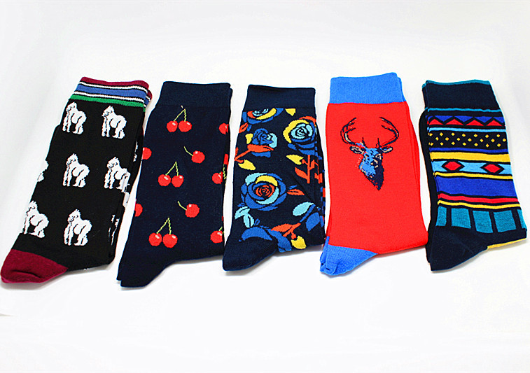1Pair Cotton Men Socks Street Skateboard Fish Bird Elephant Bull Colorful Crew Casual Funny Harajuku Happy Socks Compression