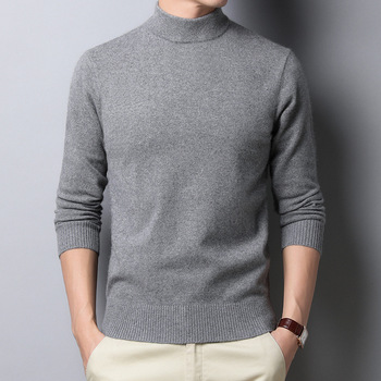 Autumn and Winter New Mens Knitted Pullover Half-high Collar Wool Sweater Cashmere Warm