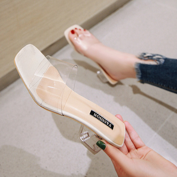 Fashion Sexy Women Sandals Shoes Celebrity Wearing Simple Style PVC Clear Strappy Buckle High Heels Woman Transparent Heel White