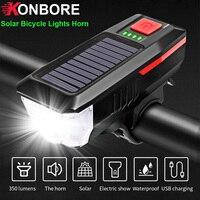 T6 LED 태양 자전거 조명 경적 자전거 전면 빛 USB 충전식 2000mAh 손전등 자전거 액세서리 밤 타고 헤드 라이트