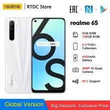 Realme 6s RMX2002 NFC 6,5 ''FHD + 90 Гц 6 ГБ 128 4300 мА/ч, 30W Зарядное устройство смартфона 48MP Quad камеры 2400*1080 Android 10 мобильный телефон