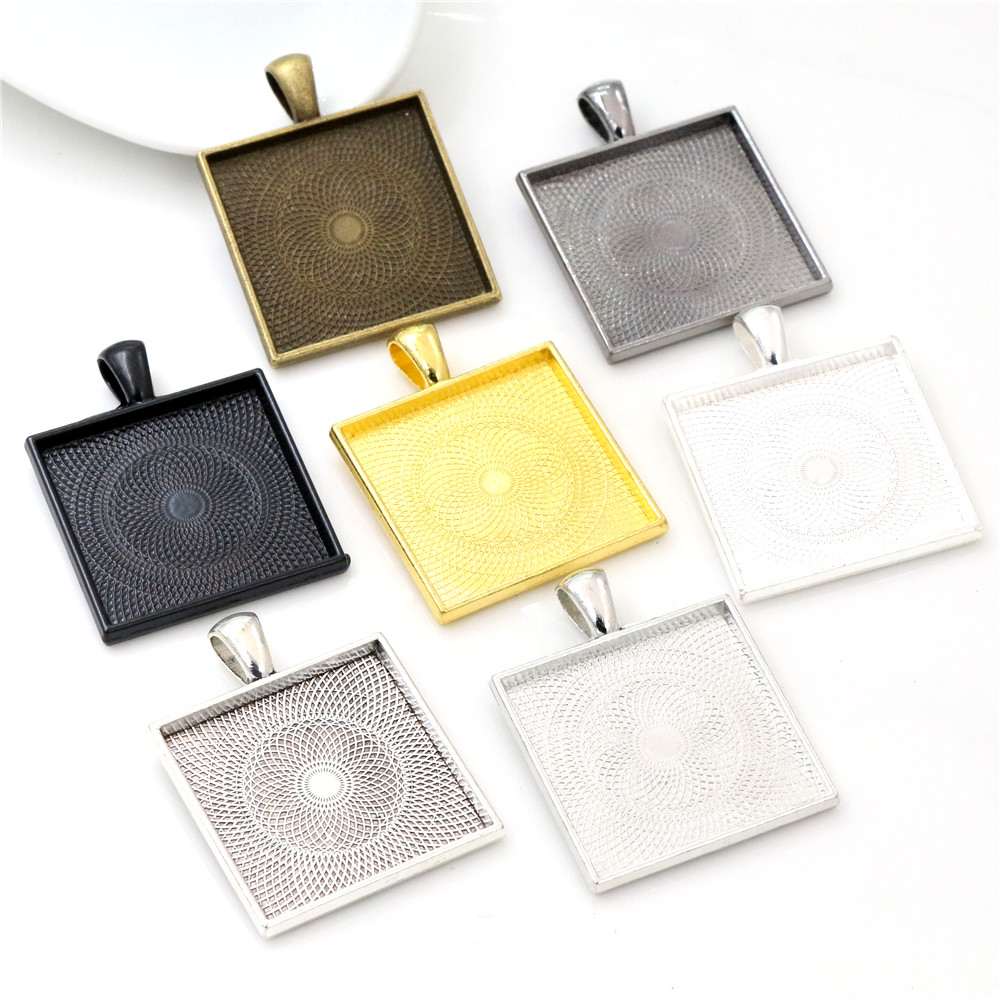 New Fashion 5pcs 25mm Inner Size 7 Colors Plated Square Cabochon Base Setting Charms Pendant,Fit 25mm Square Glass Cabochons