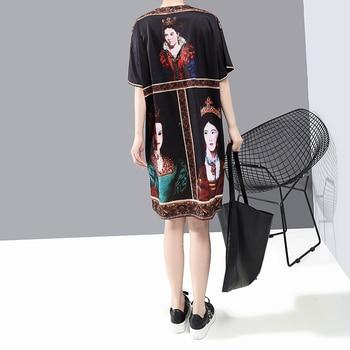 New 2020 Korean Style Women Summer Black Dress Printed Ladies Plus Size Casual Straight Midi Dress Cute Wear Robe Femme 6001 6