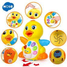 Купить с кэшбэком Free Shipping Huile Toys 808 EQ Flapping Yellow Duck child puzzle electric toy animal music