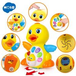 HOLA 808 Musical Flattern Gelb Ente Action Bildungs Lernen und Walking Spielzeug für 1 Jahr Alt Baby Kleinkind Mädchen Junge weihnachten Geschenk
