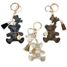 LLavero de borla de cuero de imitación para mujer, llavero de oso, llavero de ornamento para mochila, llavero de regalo para mujer, ornamento para mochila